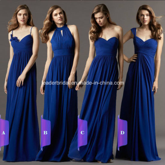 d3043d4c730 Navy Blue Chiffon Party Prom Evening Gowns Cap Sleeves Long Bridesmaid Dress  A9 pictures   photos