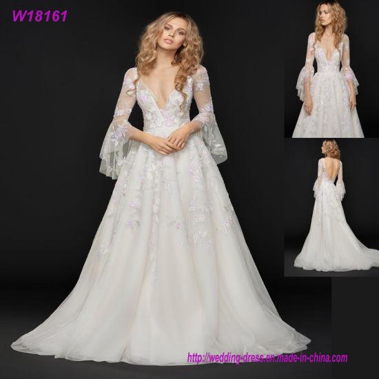 China Long Sleeve Deep V Neck Wedding Dress Shiny Lace Bridal Gown ...