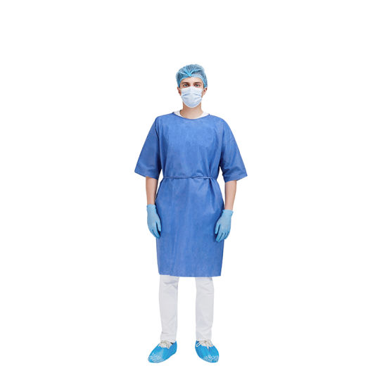 Disposable Short Sleeve Non Woven Patient Gown for Hospital