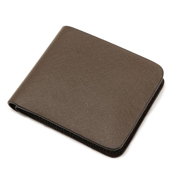 Custom Logo Design Genuine Saffiano Leather Wallet Purse