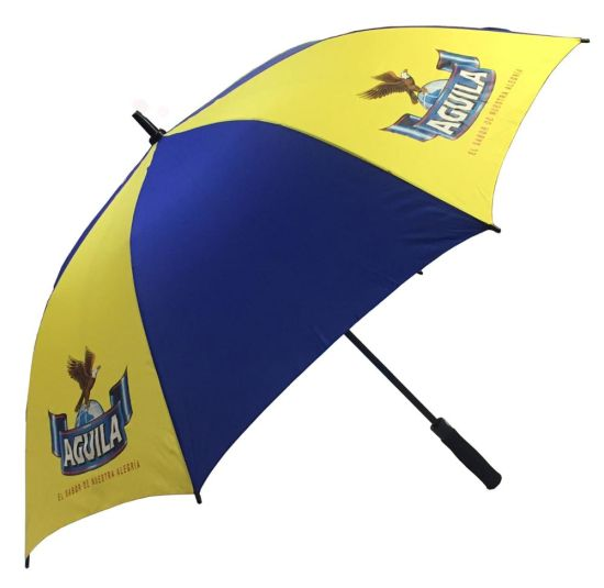 Auto Open Anti-Thunder Canopy Windproof Fiberglass Advertising Golf Umbrella Promotion Parasol