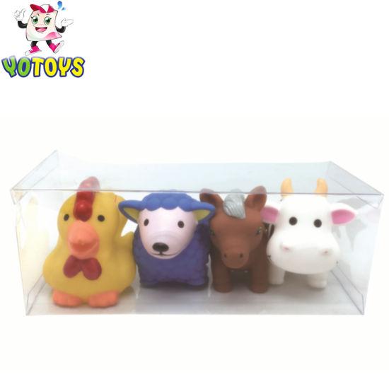 Plastic Farm Animal Bath Toys Set With Pvc Box