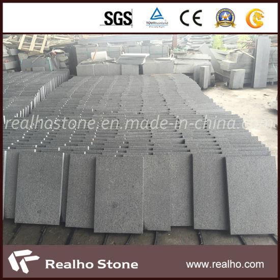 Chinese G654 Flamed Sesame Black Granite Tile for Flooring