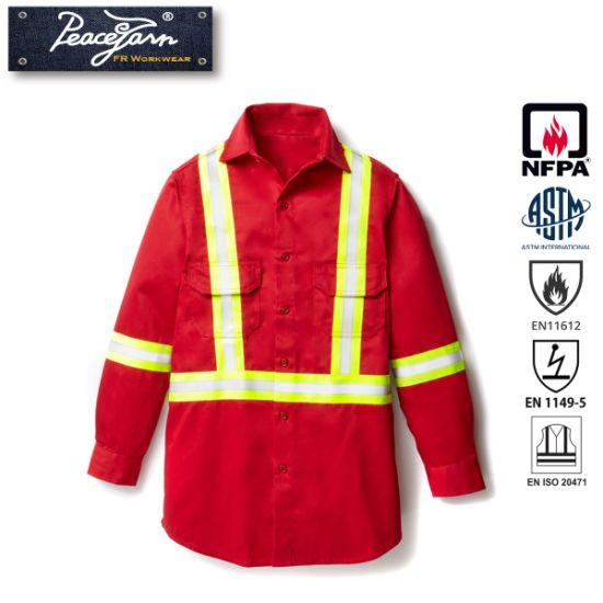 Protective Safety Wear for Work Shirt with Flame Retardant and Reflective Tape