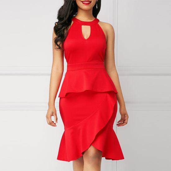High-End Quality Lady Sleeveless Red Peplum Waist Sheath Dress