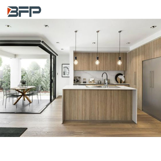 China Cost Effective Modern Kitchen Cabinet With Island Hpl Wood Grain Finish China Kitchen Cabinets Kitchen Furniture