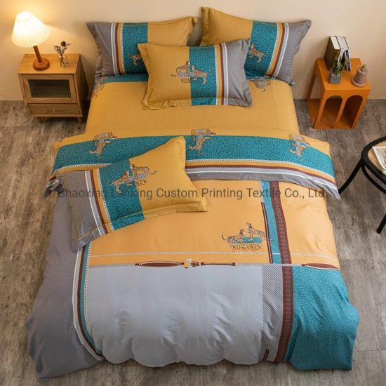 High Quality Printed 4 Piece Bed Sheets Set Luxury Wholesale Bedding Set 100% Cotton