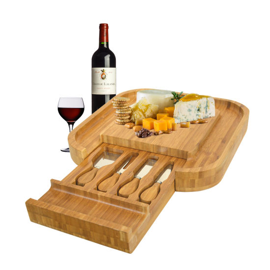 Bamboo Cheese Board Set with Cutlery in Slide-out Drawer Including 4 Stainless Steel Serving Utensils