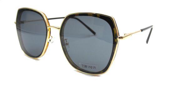 Oversized Tortoise Shell and Golden Sunglasses Frame with Polarized Lens