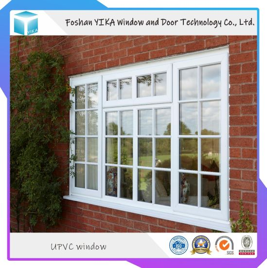 Plastic Steel French Window and Door Double Tempered Glass with Grill Inside