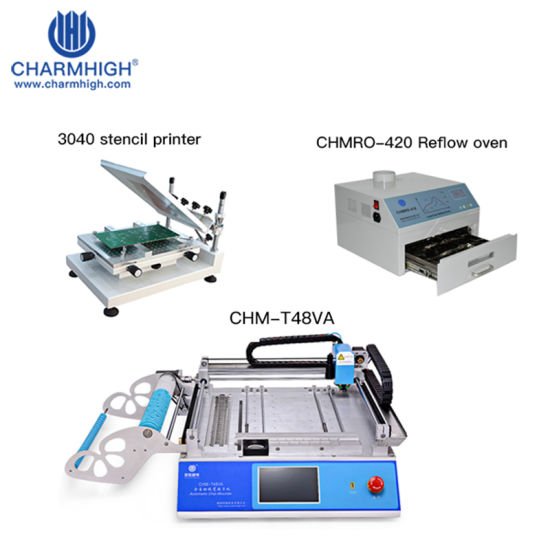 Classic Set: Chm-T48va Pick and Place Machine + High Precision Chm-T3040 Stencil Printer + Chmro-420 Reflow Oven, PCB Assembly Line
