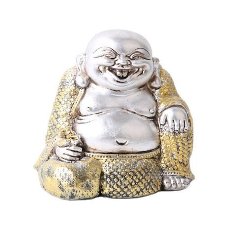2020 Hotsell Small Tabletop Cute Sitting Laughing-Buddhist Gold and Sliver Resin Buddha Statue