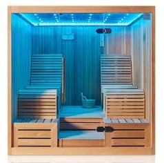 Two People Lie Down African White Pine Square Sauna/Infrared Sauna Room