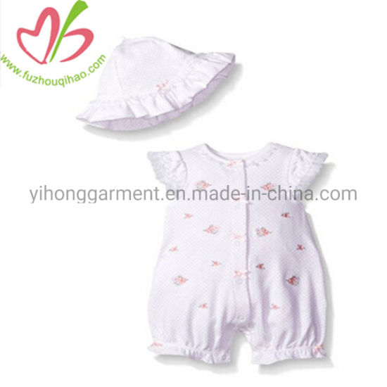 Soft Flower Print Newborn Baby Romper Set with Hat pictures & photos