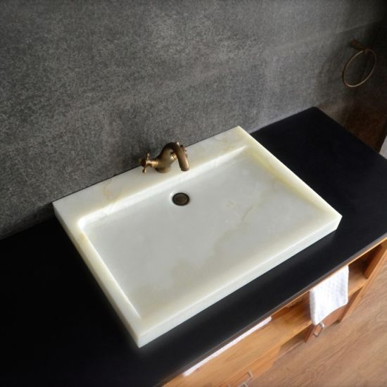 Modern White Onyx Bathroom Sink Basin