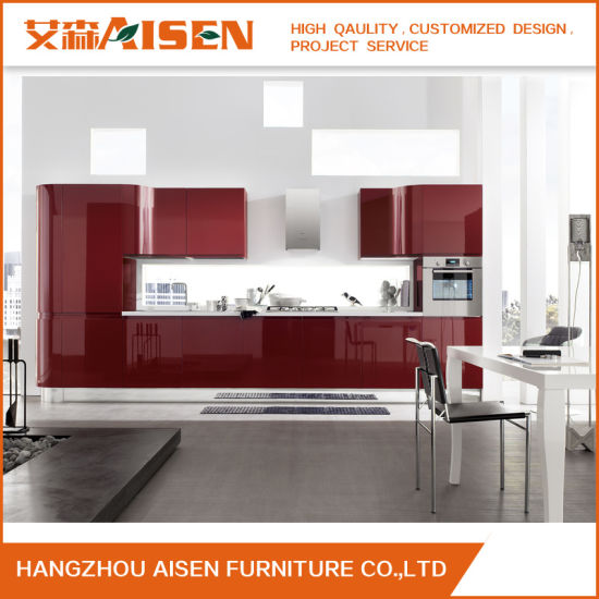 China South America Red Color Lacquer Kitchen Cabinets China
