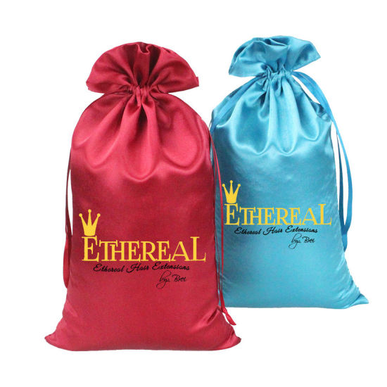 Virgin Hair Packaging/Hair Extension Garment Bag/Silk Custom Satin Hair Bag