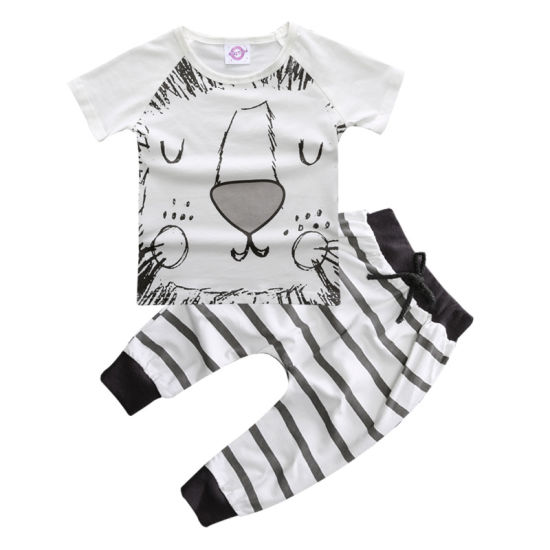 Summer Baby Clothing Cotton Lion T-Shirt + Trousers Baby Clothes