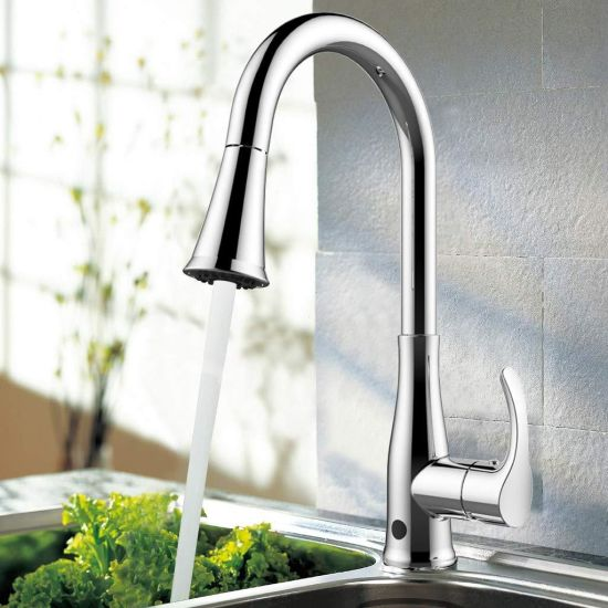 China Spot Defense Stainless Steel 1 Handle Deck Mount Pull Down Handfree Kitchen Faucet Deck Plate Included China Stainless Steel Kitchen Faucet Pull Down Faucet