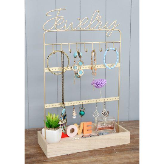 Wood Base Wire Jewellery Holder 28X12X44.5cm, , , Home Decor, Home Decor Craft