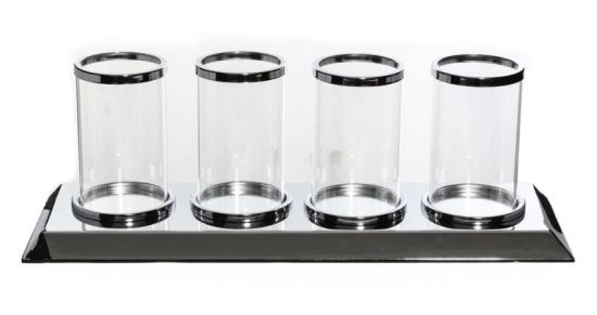 Clear Silver Glass Candle Holder with 4 Candle Light Cup Elegant Ideal for Home Decoration