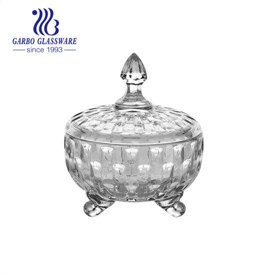Wholesale Sun Flower Design Glass Candy Pot with Lid Footed Short Glass Candy Peanut Snack Jar with Arabic Style for Party Home Hotel (GB1837TY-2)