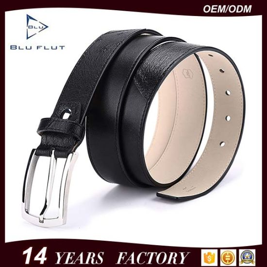 Embossed Custom Logo Pin Buckle Belt Genuine Leather Men Belt pictures & photos