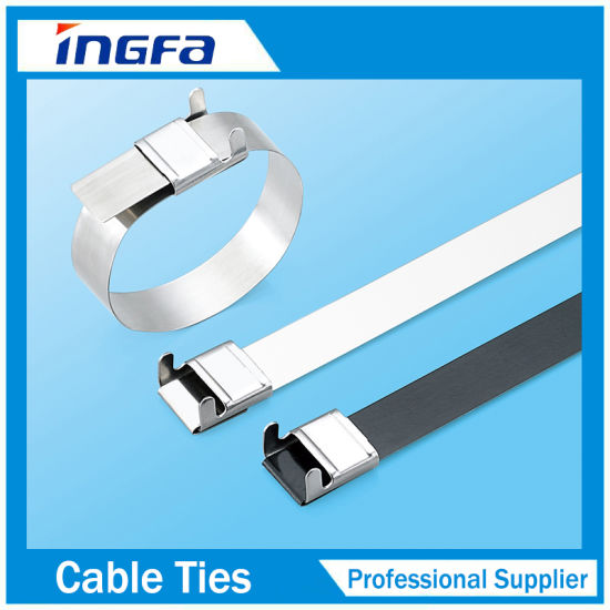 304 316 Stainless Steel Cable Tie with PVC Coated Wing Lock Type
