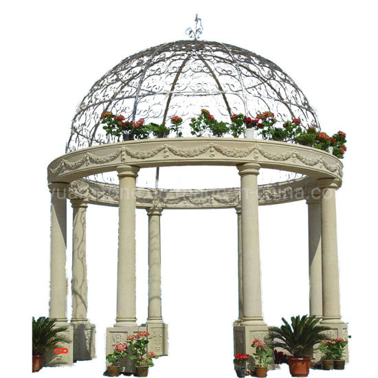 Stone Gazebo Marble Carving Pavilion for Antique Outdoor Decoration