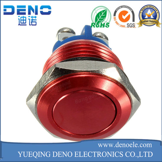 16mm Horn Button Switch Red Metal Stainless Steel Push Button Switch