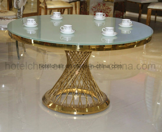 Restaurant Tempered Glass Steel Dining Table Set (FD-011T)