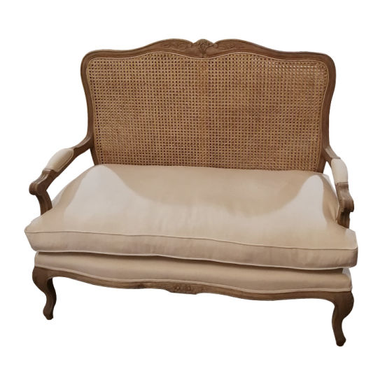 Kvj-7620r French Antique Rattan Solid Wood Oak Frame Linen Fabric Two Seater Sofa