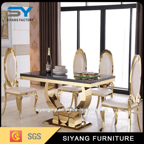 Home Furniture Gold Stainless Steel Table Glass Dining