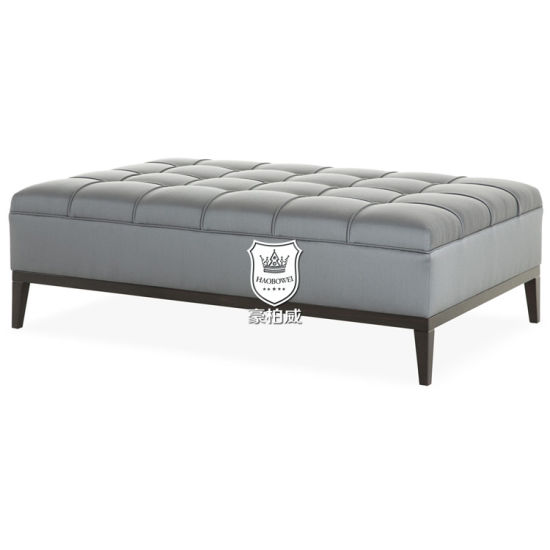 Synthetic Leather Sofa Bench with Elegant Piping in Living Room pictures & photos