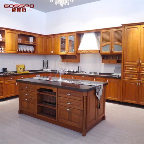 China Modern Painting Solid Teak Wooden Kitchen Cabinet ...