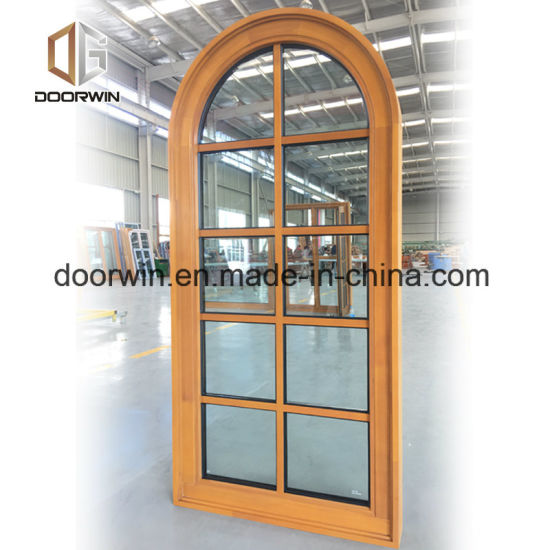 Grille Round-Top Casement Window, Solid Pine Wood