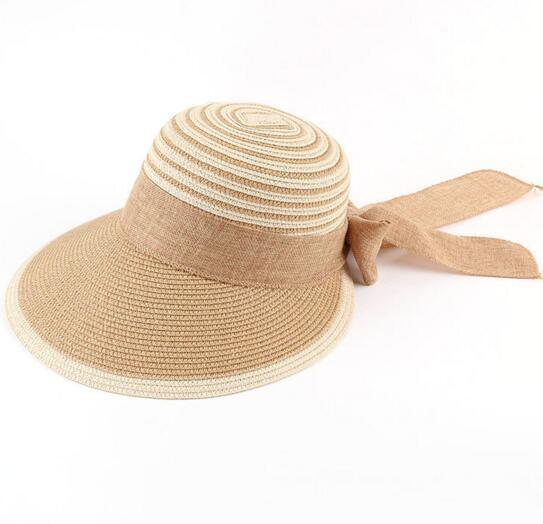 Fashion Lady Beach Sun Visor Hat Wide Brim Straw Hat