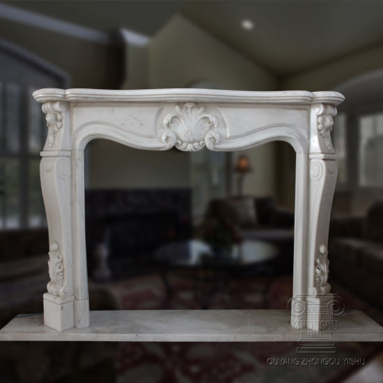 Home Decoration Hand Carved White Marble Fireplace Mantel pictures & photos