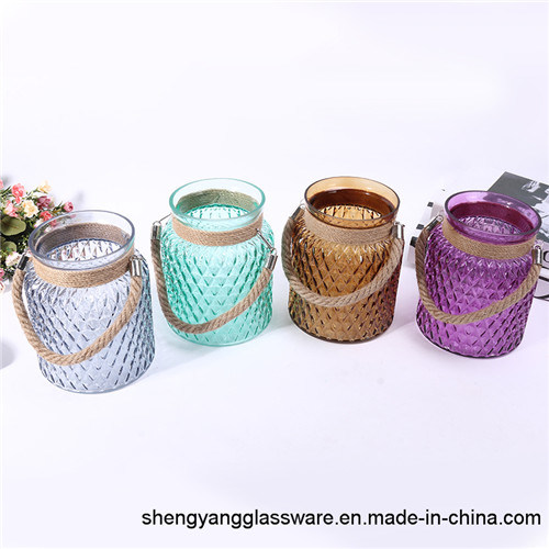 Fashion Portable Colorful Glass Candle Holders