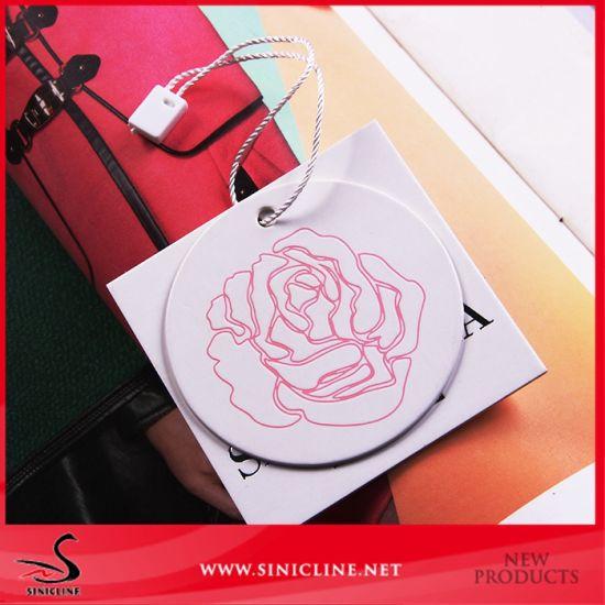 Sinicline New Design Rose Flower Logo Dembossed Hang Tag