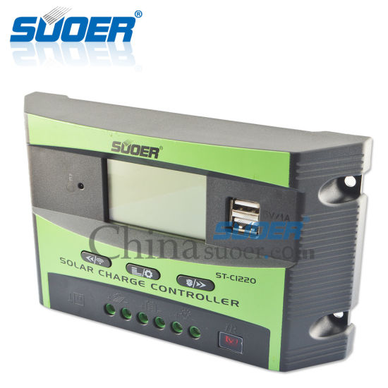 Suoer Intelligent Controller Solar Charge Controller 12V 24V 20A Solar Controller (ST-C1220) pictures & photos