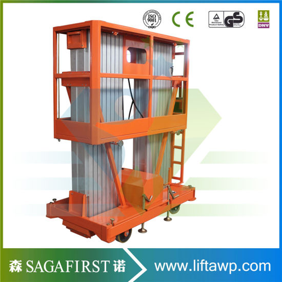 6m to 14m Aerial Dual Mast Aluminum Lift Platform Cargo Table Lift pictures & photos