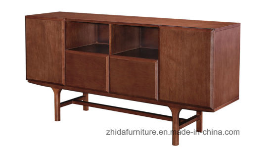 Modern Solid Wood Cabinet Walnut Color Console