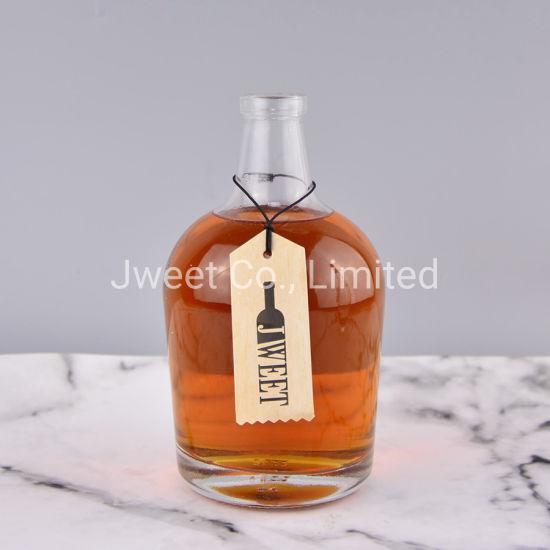 Wholesale 750ml Round Super Flint Glass Clear Gin Liquor Glass Bottle