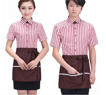 Striated Restaurant Hotel Work Wear Uniform with Apron
