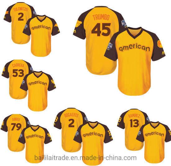 new styles afab6 21196 American League Majestic Yellow/Brown Bogaerts Ramirez Baseball Jersey