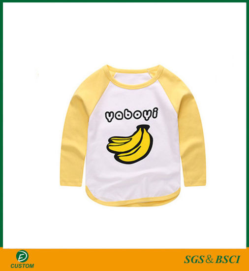 New Design Factory Made Fruit Printing Long Sleeve T-Shirts for Children