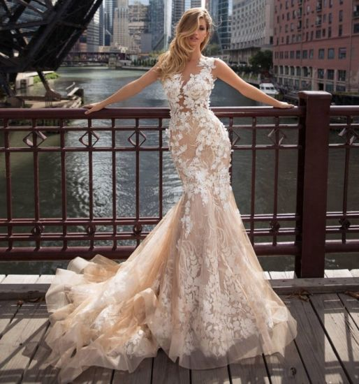 China Mermaid Champagne Bridal Gowns Mermaid 3d Flowers Tulle Lace