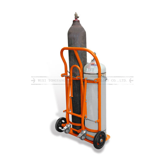 Four Wheels Steel Double Gas Cylinder Hand Delivery Truck