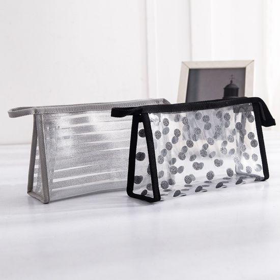Striped Waterproof PVC Cosmetic Makeup Bag Transparent Beauty Bag